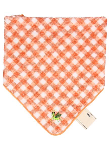 お名前タグ付きループ・スタイ刺繍タオル オレンジ キッズ