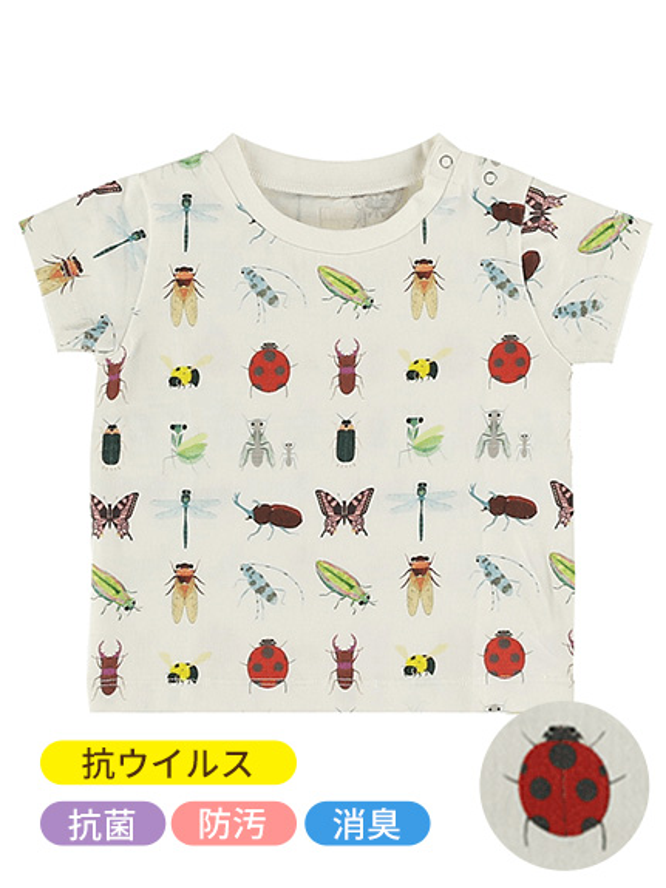 抗ウイルス・抗菌・防汚・消臭12昆虫大集合Tシャツ ホワイト オーガニックコットン使用