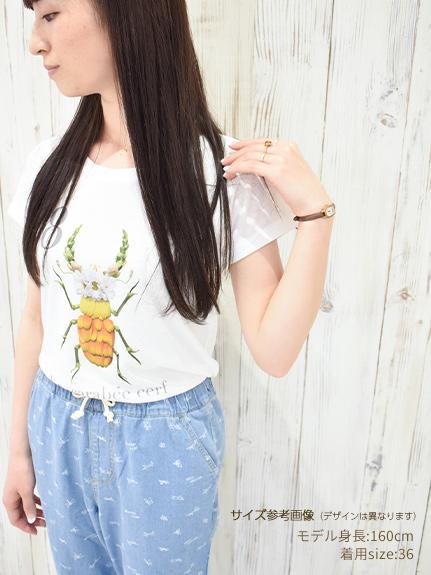 OTONA Nombre プリント100%再生ペットボトルTシャツ アリ2 blanc