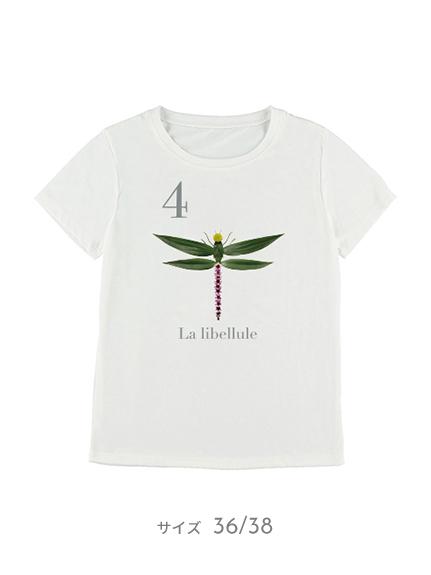 OTONA Nombre プリント100%再生ペットボトルTシャツ トンボ4 blanc