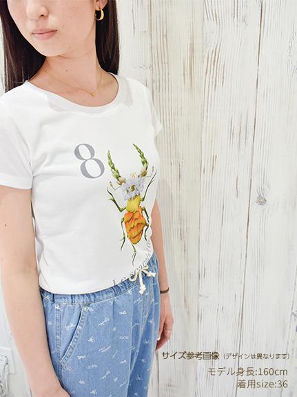 OTONA Nombre プリント100%再生ペットボトルTシャツ カブトムシ5 blanc