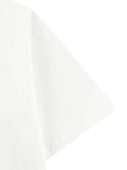 大人もはちちゃんプリントTシャツ ホワイト オーガニックコットン使用