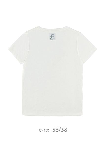 【予約商品】OTONA Nombre プリント100%再生ペットボトルTシャツ ハチ6 blanc【2月中発送予定】