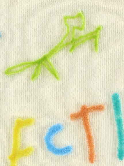 大人も!カラフル歯ブラシ刺繍ロゴフーディ アイボリー オーガニックコットン使用