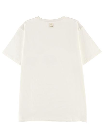 大人もちょうちょちゃんプリントTシャツ ホワイト オーガニックコットン使用