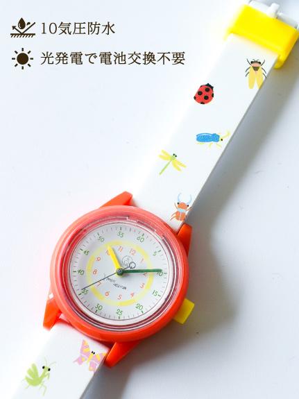 時間が学べる知育時計!昆虫大集合にぎやかソーラーウォッチ レッド
