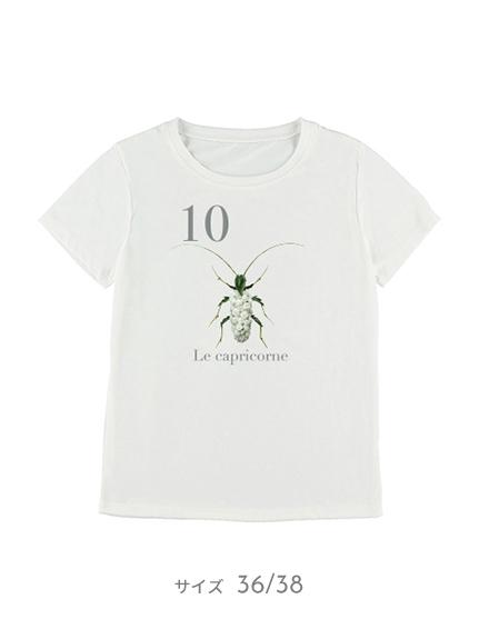 【予約商品】OTONA Nombre プリント100%再生ペットボトルTシャツ カミキリムシ10 blanc【2月中発送予定】