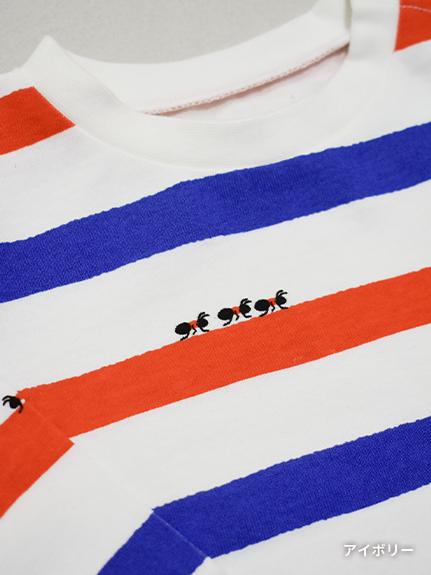大人も!ありさんボーダー長袖Tシャツ オーガニックコットン使用