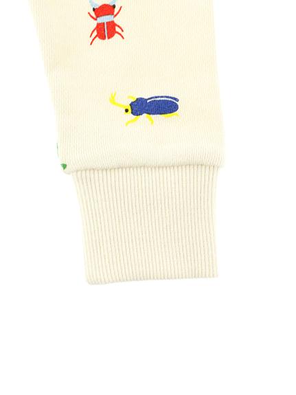 昆虫集合総柄スウェット アイボリー キッズ オーガニックコットン使用