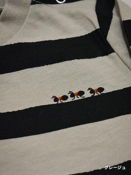 ありさんボーダー長袖Tシャツ オーガニックコットン使用