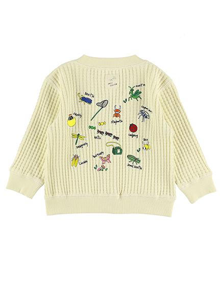 昆虫大集合刺繍ワッフルカーディガン オフホワイト