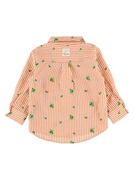 【かまきりくんリラックスシャツ】速乾・アイロン要らずな総刺繍ストライプ オレンジ