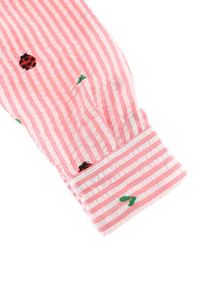 【てんとうむしちゃんリラックスシャツ】速乾・アイロン要らずな総刺繍ストライプ ピーチ