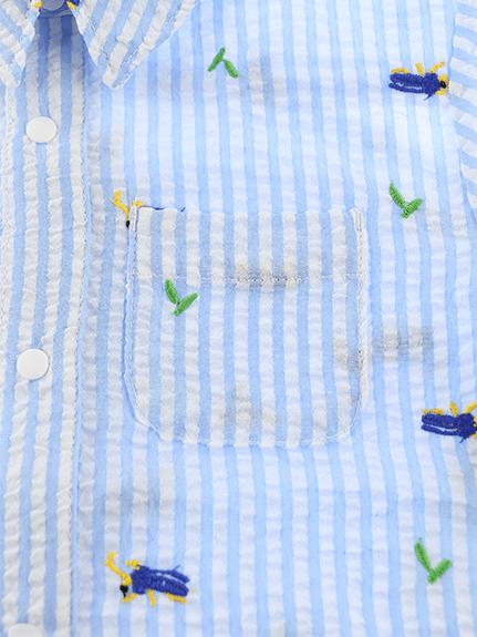 【かぶとむしくんリラックスシャツ】速乾・アイロン要らずな総刺繍ストライプ スカイ