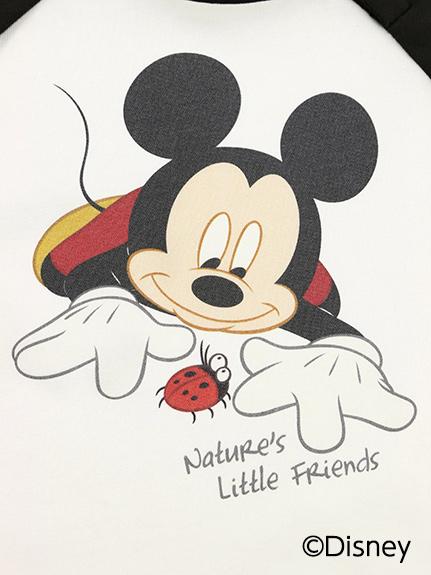 【予約商品】インセクトコレクション限定 Disneyデザイン ラグラン長袖Tシャツ<Mickey&Ladybug> ブラック オーガニックコットン使用【10月上旬発送予定】