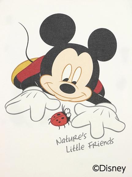 【予約商品】大人も!インセクトコレクション限定 Disneyデザイン ラグラン長袖Tシャツ<Mickey&Ladybug> ブラック オーガニックコットン使用【10月上旬発送予定】