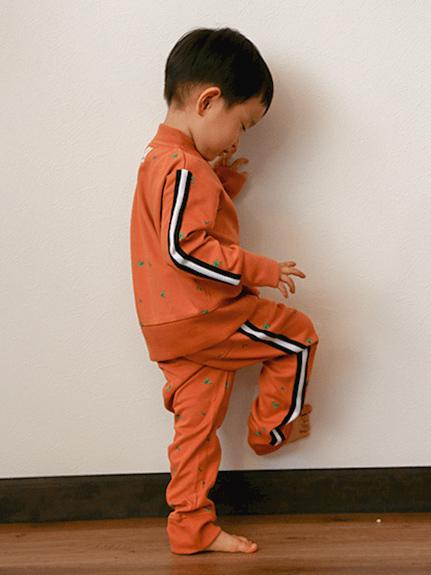 禁断のかまきりくん総柄ジャージパンツ オレンジ キッズ