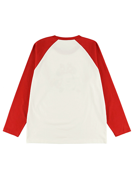 大人も!インセクトコレクション限定 Disneyデザイン ラグラン長袖Tシャツ<Minnie&Ladybug> レッド オーガニックコットン使用