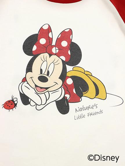 【予約商品】大人も!インセクトコレクション限定 Disneyデザイン ラグラン長袖Tシャツ<Minnie&Ladybug> レッド オーガニックコットン使用【10月上旬発送予定】