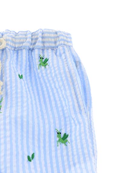【かまきりくんリラックスパンツ】速乾・アイロン要らずな総刺繍ストライプ スカイ