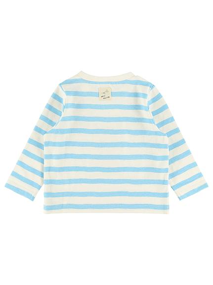 さがら刺繍くわがたくんボーダー長袖Tシャツ スカイブルー オーガニックコットン使用