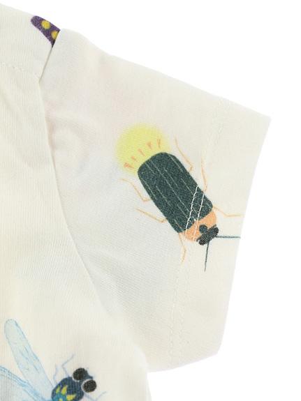 抗ウイルス・抗菌・防汚・消臭ランダム昆虫大集合Tシャツ オフホワイト オーガニックコットン使用