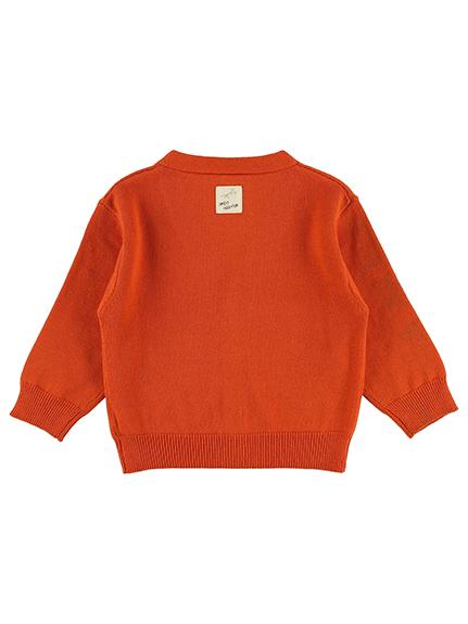 さがら刺繍ダブルかまきりくん ニットカーディガン オレンジ