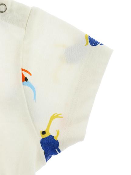 抗ウイルス・抗菌・防汚・消臭かぶとむしくんVSくわがたくんTシャツ オフホワイト オーガニックコットン使用