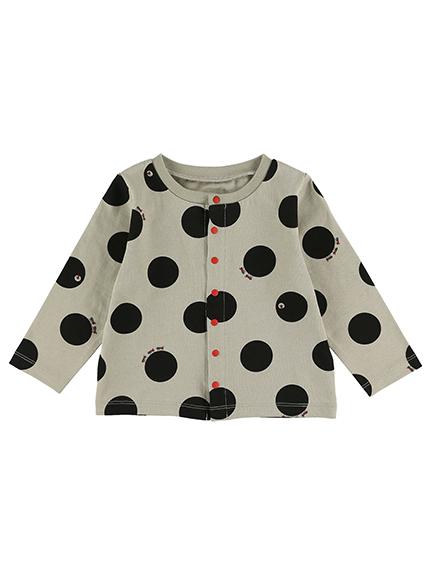 【予約商品】ありドット前開き赤ボタン長袖Tシャツ グレージュ オーガニックコットン使用【9月中旬発送予定】