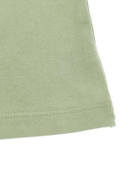 カマキリサイン ロープ刺繍長袖Tシャツ オリーブ オーガニックコットン使用