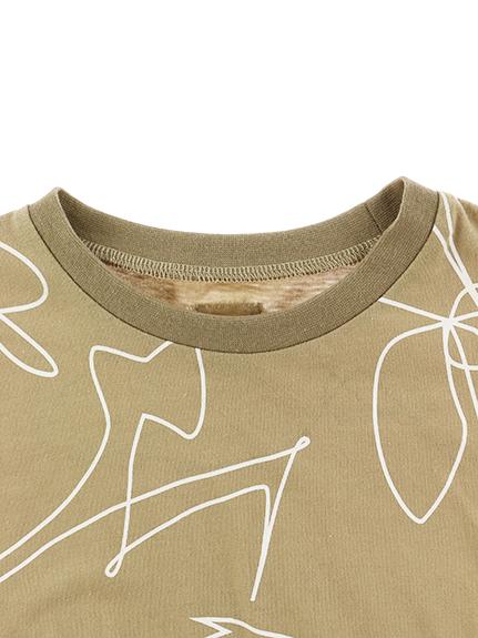 【予約商品】抗ウイルス・抗菌・防汚・消臭ビッグ昆虫サイン・モノグラムTシャツ ベージュ オーガニックコットン使用【2月中発送予定】