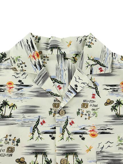 大人も昆虫集合アロハシャツ きなり