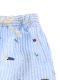 【かぶとむしくんリラックスパンツ】速乾・アイロン要らずな総刺繍ストライプ スカイ