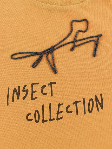カマキリサイン ロープ刺繍長袖Tシャツ オレンジ オーガニックコットン使用