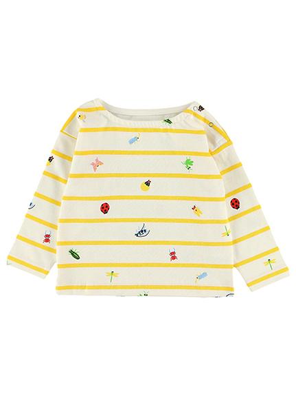 【予約商品】12昆虫大集合ボーダー長袖Tシャツ オーガニックコットン使用【9月中旬発送予定】