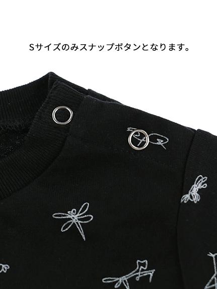 昆虫サイン・モノグラム 長袖Tシャツ ブラック