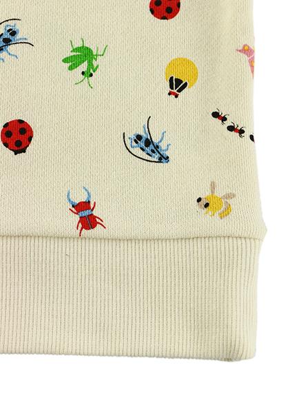 【予約商品】12昆虫にぎやかスウェット オフホワイト オーガニックコットン使用【9月中旬発送予定】
