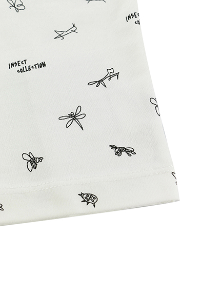 昆虫サイン・モノグラム 長袖Tシャツ ホワイト