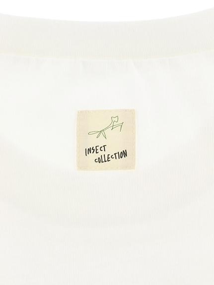 大人もかみきりむしくんプリントTシャツ ホワイト オーガニックコットン使用