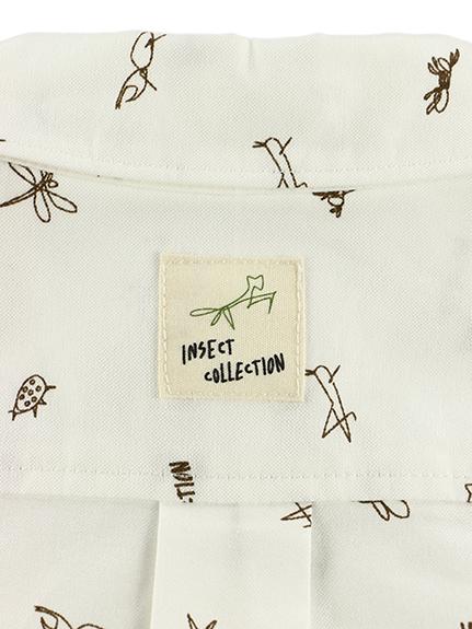 昆虫サイン・モノグラム・オックスフォードシャツ ブラウン
