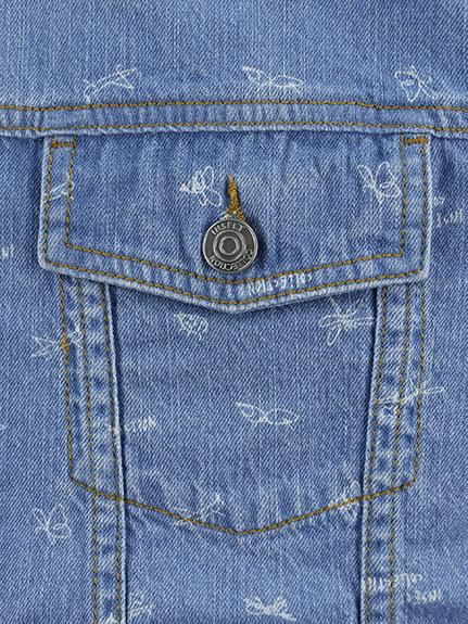 大人も!昆虫サイン・モノグラム 総刺繍プレミアムデニムジャケット インディゴ