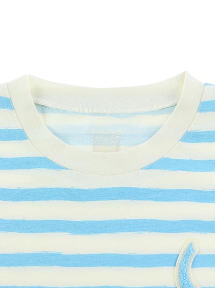 大人も!さがら刺繍くわがたくんボーダー長袖Tシャツ スカイブルー オーガニックコットン使用