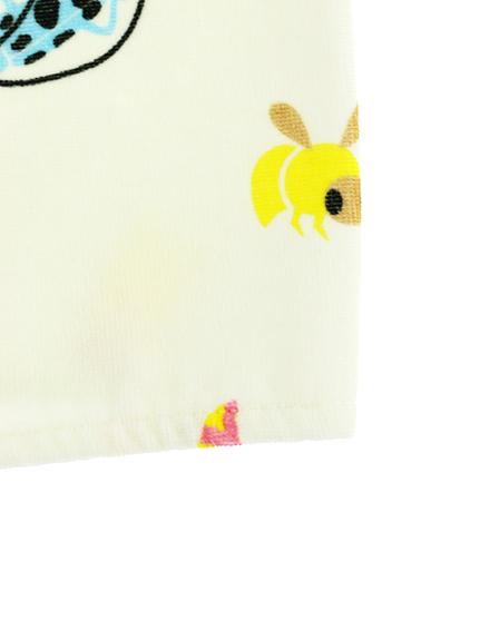 ツノ付き昆虫大集合フードタオル オフホワイト
