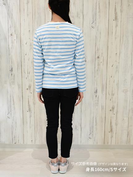 大人も!さがら刺繍かぶとむしくんボーダー長袖Tシャツ ネイビー オーガニックコットン使用