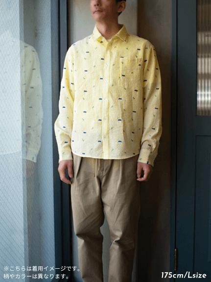 【大人も!かまきりくんリラックスシャツ】速乾・アイロン要らずな総刺繍ストライプ オレンジ