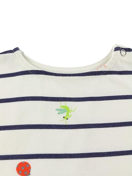 昆虫集合ボーダーTシャツ ネイビー キッズ