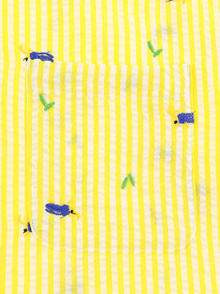 【大人も!かぶとむしくんリラックスシャツ】速乾・アイロン要らずな総刺繍ストライプ レモン