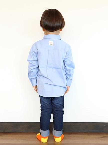 シャンブレーかまきりくん刺繍シャツ ブルー キッズ