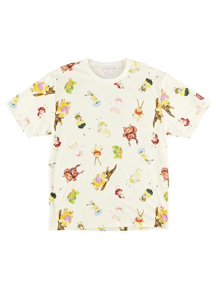 【予約商品】大人も!インセクトランドのなかまたち大集合Tシャツ オフホワイト オーガニックコットン使用【2月中発送予定】