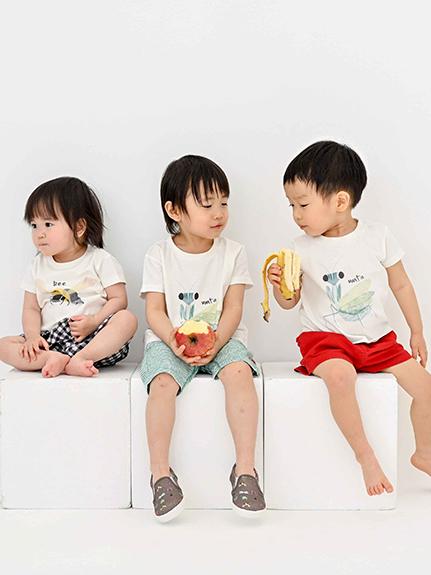 かまきりくんプリントTシャツ ホワイト キッズ オーガニックコットン使用